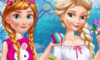 Habiller Elsa et Anna pour Pâques 2017