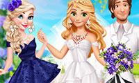 Mariée et demoiselle d'honneur à habiller