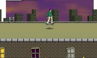 Jeu de skate sur un toit