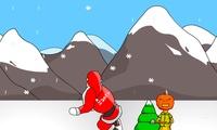 Le père noel fait du snowboard
