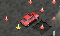 Rouler en voiture sur des cones