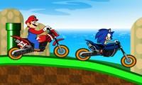 Course de moto Sonic contre Mario