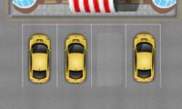 Taxi à garer dans un parking
