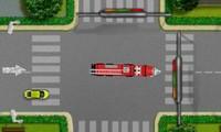 Camion de pompier en ville