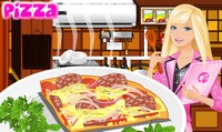 Barbie cuisine une pizza