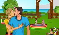 Couple amoureux au jardin d'enfants