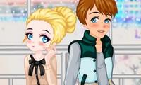 Habillage jeune couple amoureux