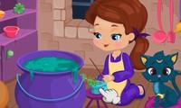 Bébé sorcière prépare une potion magique